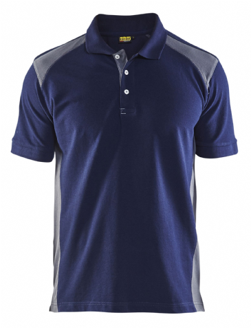 Blaklader 3324 Pique 2 Colour Polo Shirt (Navy Blue/Grey)